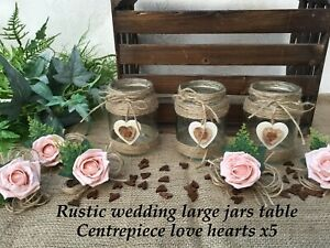 Rustic-Wedding-Jars-Large-Glass-Table-Centrepiece-Love-Heart-Hessian-Vintage-X5