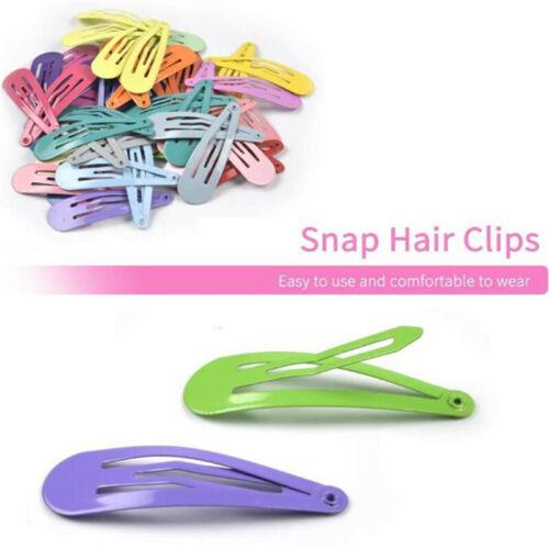 30Pcs 4.5cm Snap Hair Clips Color Metal Barrettes Baby Children Pins Hairpins