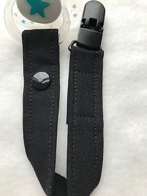 Baby Schnuller FleißIg Schnullerband Schnullerkette Nuckelband Schwarz Uni *art:sb#498