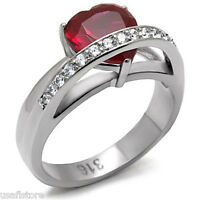 Ruby Hear Cz & Crystal Silver Stainless Steel Ladies Ring