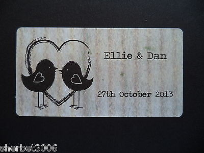 65 x Personalised Stickers Mini Wedding Shabby Vintage LoveBirds Heart Labels