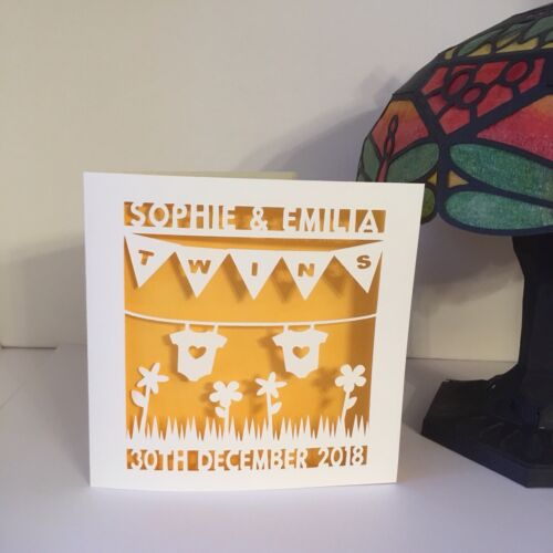 Handmade Paper Cut Personalised Baby Twins Card