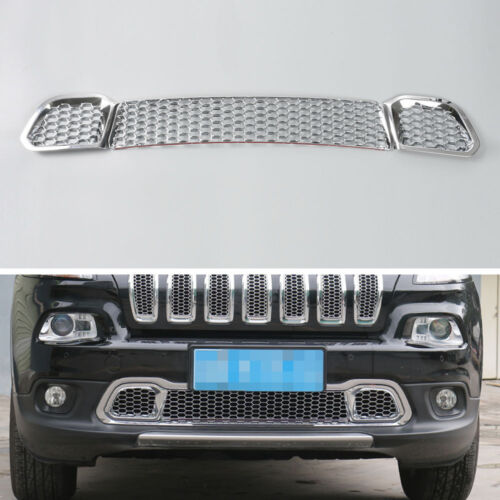 Fit For Cherokee 2014-2016 Chrome Front Grill Bumper Grille Mesh Cover Trim 3Pcs