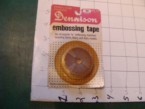 vintage Unused Dennison embossing tape RED 12 FEET for DYMO or ROTEX plastic cut