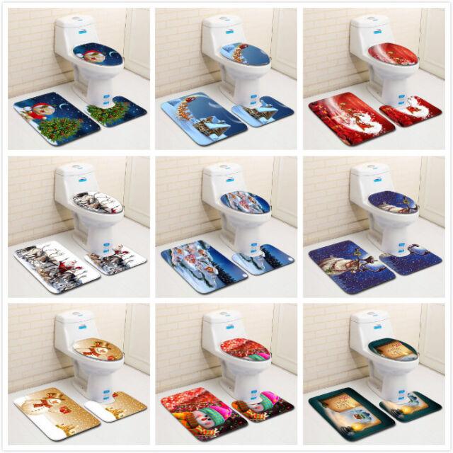 3 Piece Merry Christmas Bath Floor Mat Set Non Slip Bathroom Rugs Toilet Cover For Sale Online Ebay