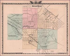 Belleville Illinois Antiguo Mapa De La Ciudad Original EBay - Mapa de illinois