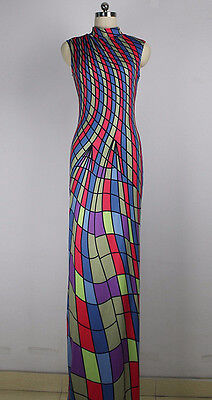 Maybe 18 MULTICOLOR PRINT LYCRA GOWN//SLEEVELESS DRESS//COSTUME//DRAG QUEEN//10-16