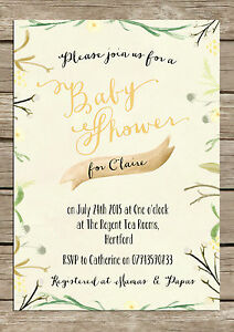 Personalised shabby chic rustic baby shower invitations packs of 10 image is loading personalised shabby chic rustic baby shower invitations packs filmwisefo