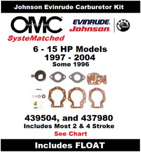 BRP Johnson Evinrude Carburetor Carb Kit 6 to 15 HP 439504 BRP OMC SysteMatched