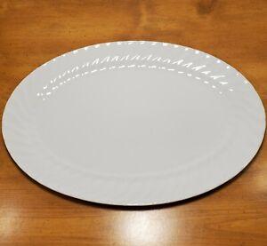 Lynn-039-s-China-Imperial-Dinnerware-Serving-Platter-14-x-9-5-Turkey-White-Scalloped