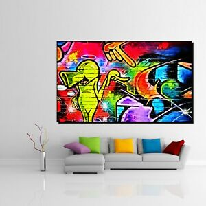 leinwand bild er xxl pop art graffiti moderne kunst wand. Black Bedroom Furniture Sets. Home Design Ideas