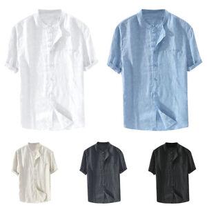Mens-Short-Sleeve-Linen-Shirt-Loose-Tee-Tops-Button-Summer-Casual-Beach-T-shirt