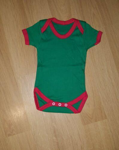 Baby Boy/'s Girl/'s Green Red Bodysuit Babygrow Xmas Short Christmas Vest Unisex