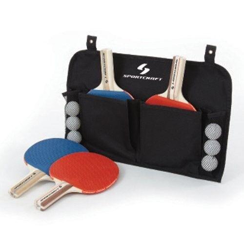 Sportcraft Organizer Ping Pong Table Tennis Set 4 Paddles Net Post ...