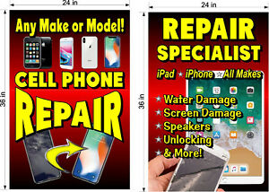 YOU-GET-2-PERFORATED-WINDOW-VINYL-DECALS-2-039-X-3-039-CELL-PHONE-REPAIR-UNLOCKING