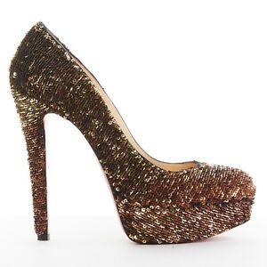 CHRISTIAN-LOUBOUTIN-Bianca-140-gold-sequins-platform-almond-toe-pumps-heels-EU38