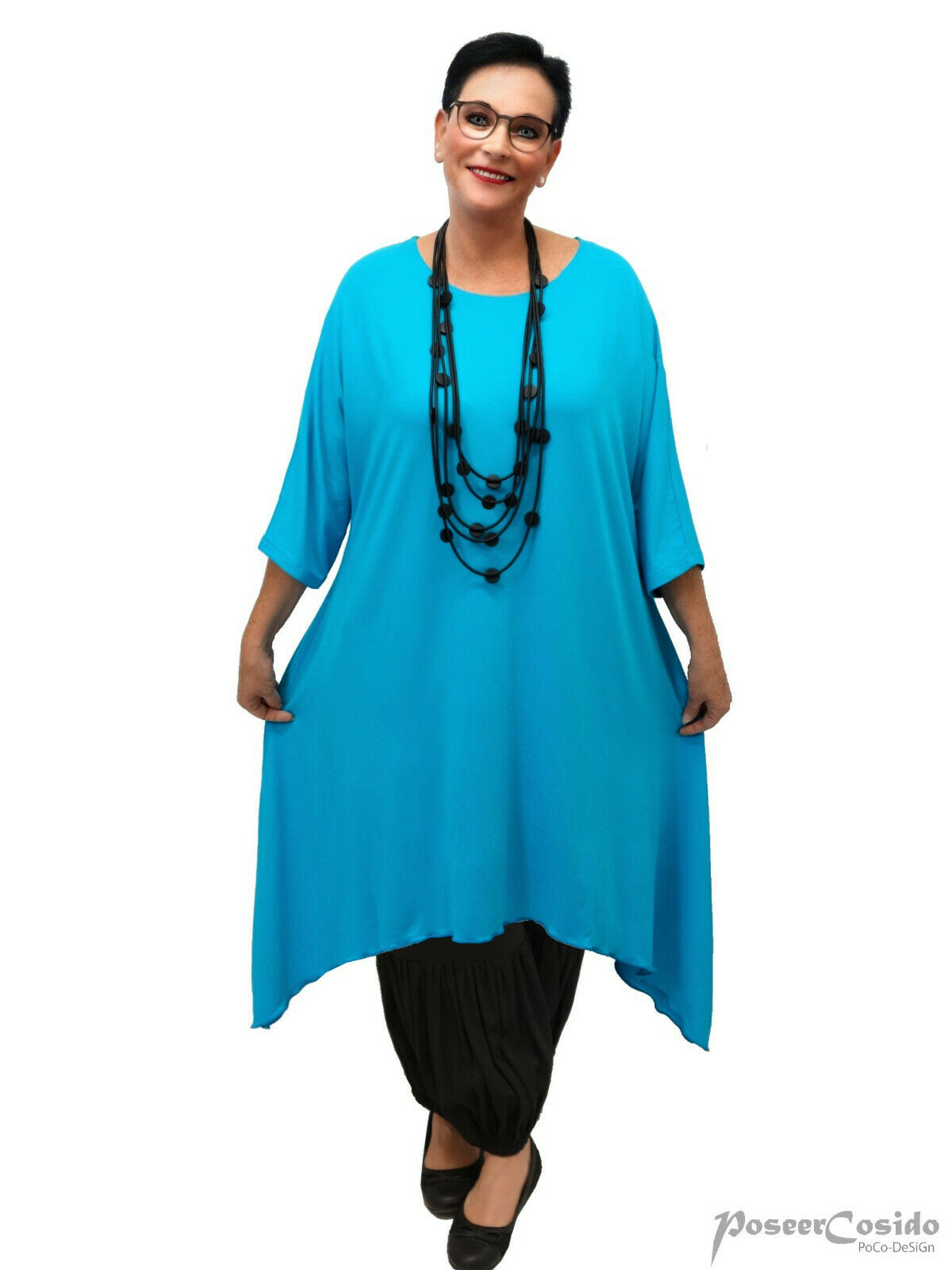 LAGENLOOK Tunika Long-Shirt Kleid türkis L-XL-XXL-XXXL 44 46 48 50 52 54 56 58