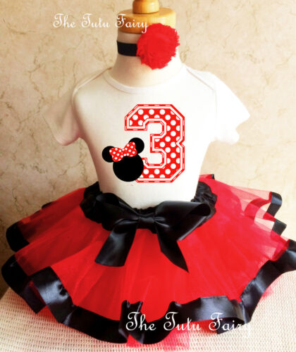 Minnie Mouse Red White Black Dots Girl 3rd Third Birthday Tutu Outfit Set Shirt