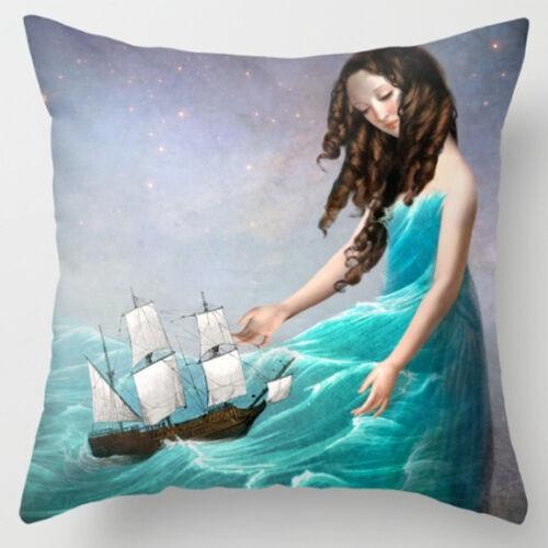 Cartoon Fairies Pillow Case Cotton Linen Sofa Cushion Cover Fashion Home Decor