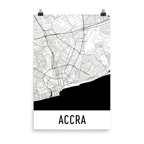 Accra Ghana Street Map Poster