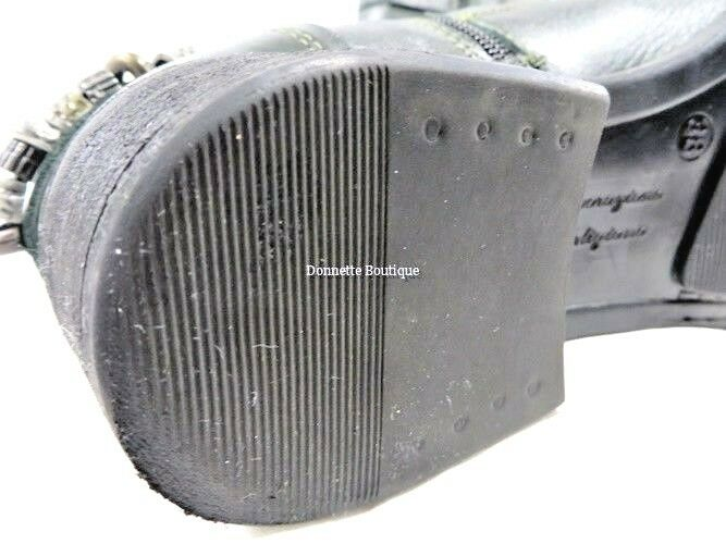 Lavorazione Artigiana efetti efetti Artigiana verde Cuero botas al tobillo con acentos de metal 38 Exc 98b33c