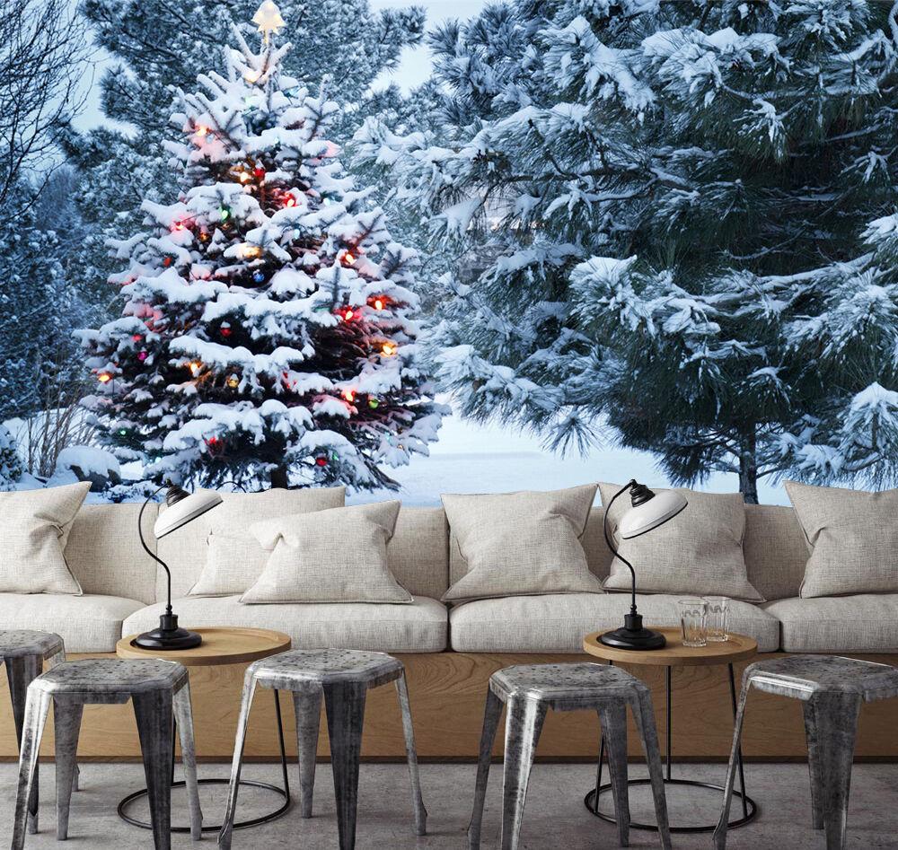 3D Snow Christmas Tree 3441 Wallpaper Decal Dercor Home Kids Nursery Mural Home