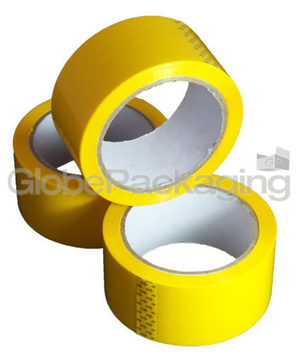 6 Rolls Of YELLOW COLOURED Packing Parcel Tape 50mmx66m