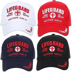 44fe3256b35e1b Image is loading LIFEGUARD-Baseball-CAP-Christian-Jesus-Hat-Red-Corss-