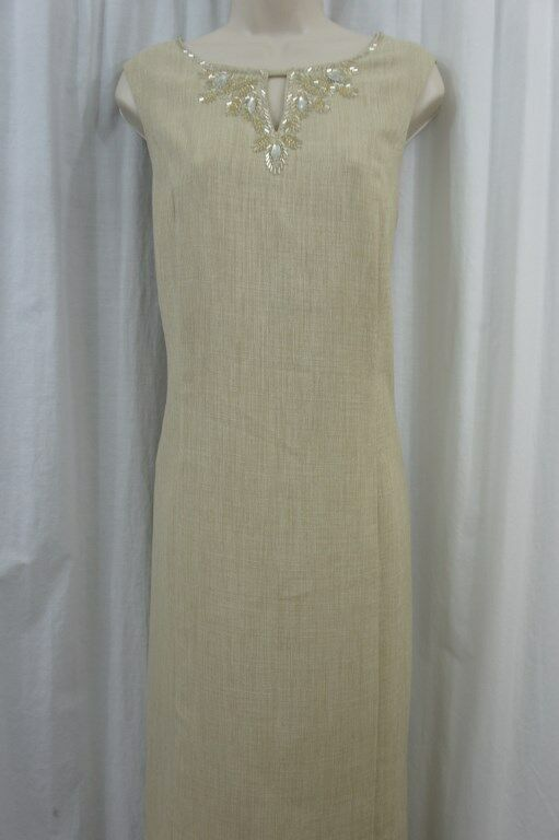 Ellen Tracy Dress Sz 8 Khaki Sleeveless Embellished Neck Sheath Business Dinner