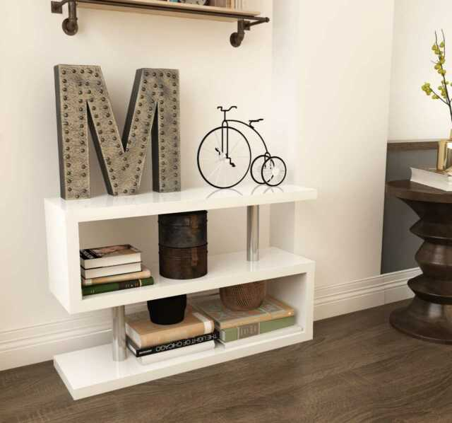 Siena White High Gloss Console Side Table Book Shelf Stand Storage Living Room