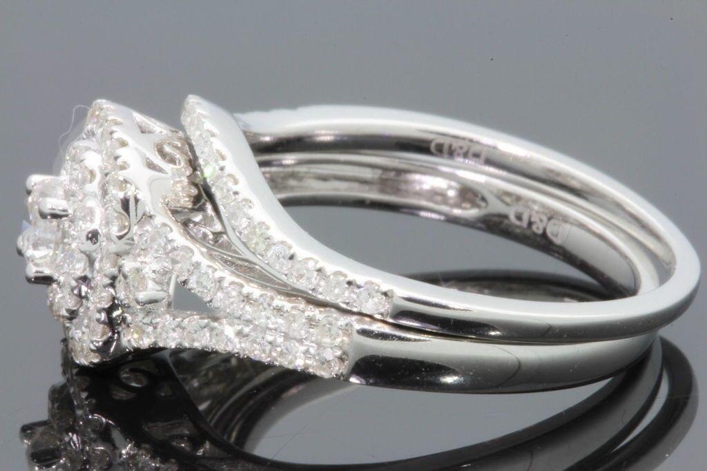 10K WHITE GOLD 93 CARAT WOMENS REAL DIAMOND ENGAGEMENT RING WEDDING BAND SET