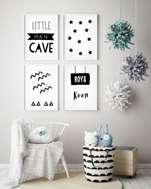 Set Of 4 Little Man Cave Boys Room Kids Nursery Wall Art Prints