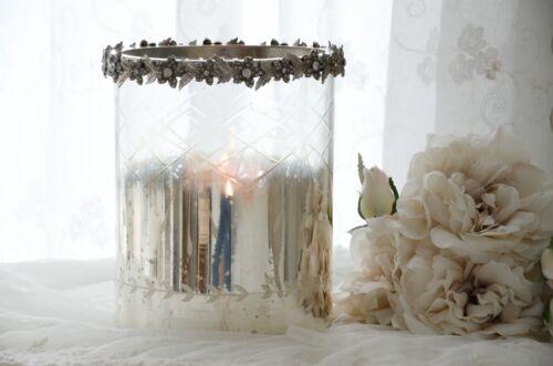 Bauernsilber Windlicht Kerzenglas Hurricane gr Shabby Chic Vintage Landhaus Deko