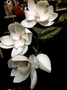 1940-Vintage-4-034-MAGNOLIA-BUD-LEAVES-1pc-Flower-amp-Bud-Cotton-Silk