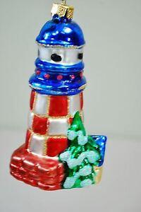 Lighthouse-Blown-Glass-Christmas-Ornament-Blue-amp-Red-w-Glitter-4-1-2-034-Long