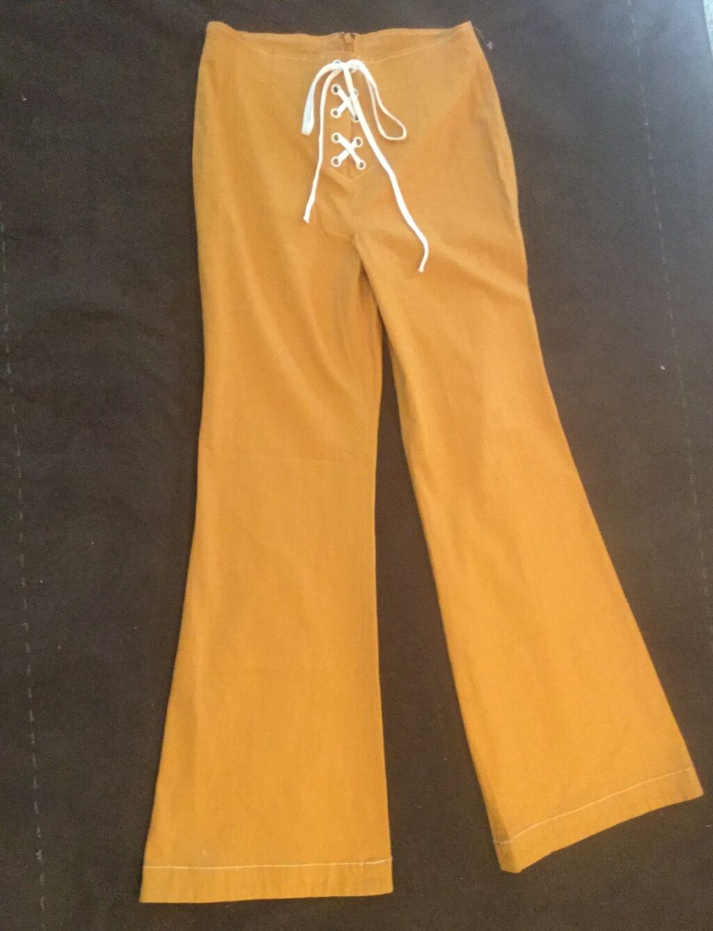 FREE PEOPLE, NEW Foxy Lace Up 70's Inspired Flare Leg Amber Yellow Pants Size 10