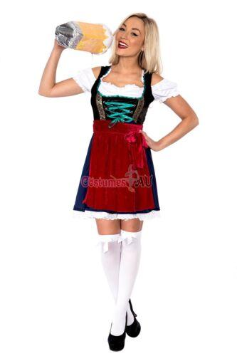Ladies Beer Maid Costume Wench German Heidi Oktoberfest Blue Womens Fancy Dress