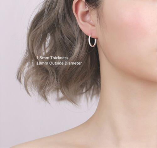 Solid 925 Sterling Silver Hinged Hoops Small Large Sleepers Earrings 8-60mm