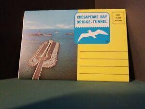 Vintage-FoldOut-Postcard-View-Book-SOUVENIR-CHESAPEAKE-BAY-BRIDGE-TUNNEL-1960