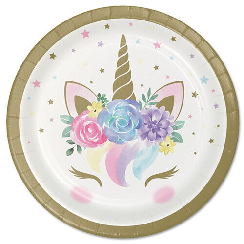 ~ Shower Party Supplies Dessert Cake Pastel 8 UNICORN BABY SMALL PAPER PLATES