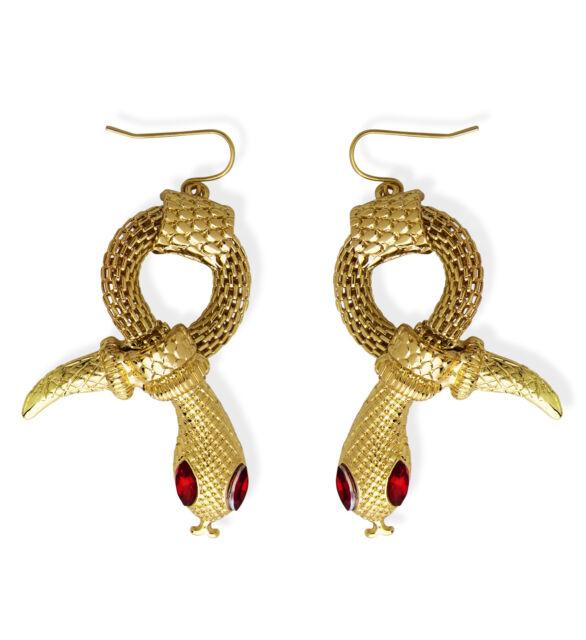 Gold Snake Earrings With Red Gem Eyes - Pharaoh Egyptian ...