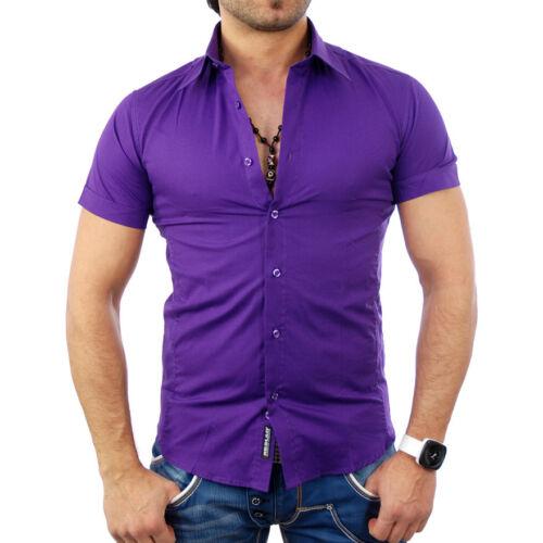 Reslad Manica Corta-Camicia UNI per il tempo libero Camicia Estate Camicia Party Club Slim Fit rs-7020