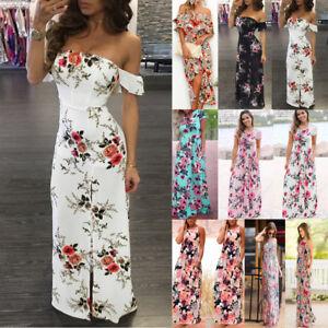 aae4d1f7026 AU Women Floral Long Maxi Dress Summer Evening Party Beach Sundress ...