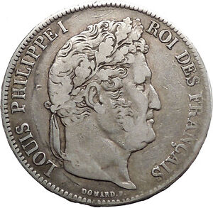 1837B-France-King-LOUIS-PHILIPPE-I-Antique-5-Francs-Large-Silver-Coin-i45540