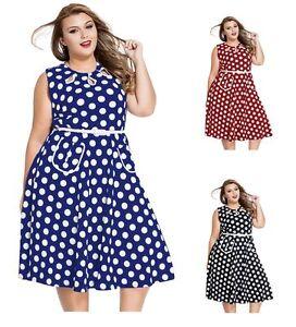 Details about Women\'s 50\'s 60\'s Retro Vintage Style Swing Polka Dot Dress  Plus Size 1X 2X 3X
