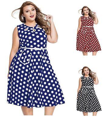 Plus Size Black and Burgundy Polka Dot Retro 50/'s  Rockabilly Dress 1X 2X 3X 4X