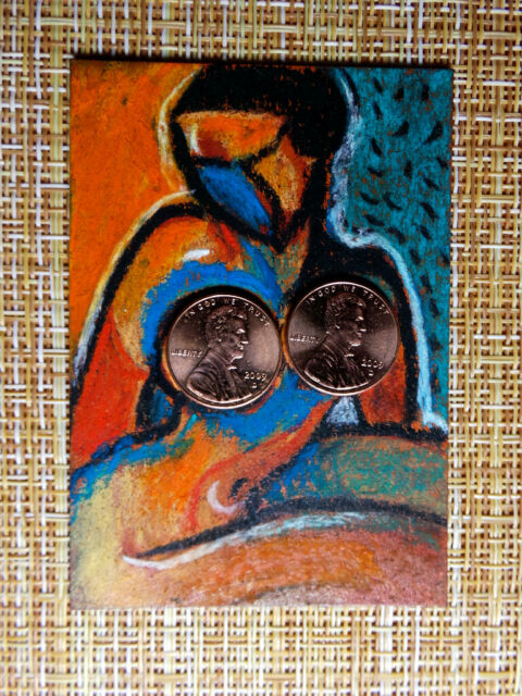 ACEO original pastel painting outsider folk art brut #010289 abstract surreal