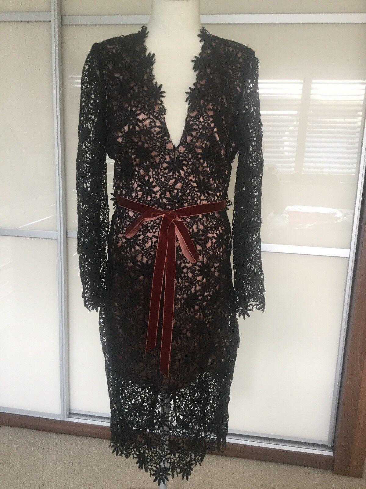 Roksander Ilinic Designer schwarz Lace Dress Größe 14
