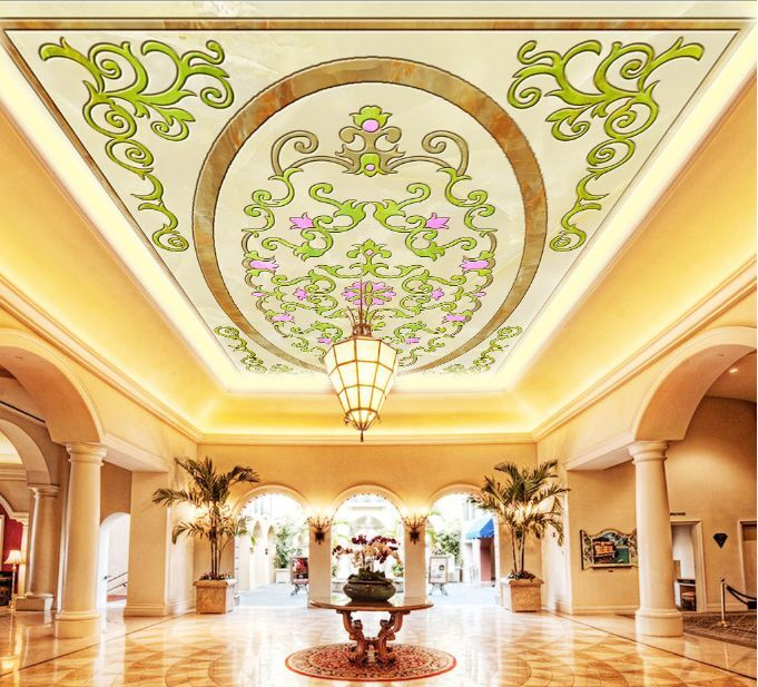3D Grün Flowery Ceiling WallPaper Murals Wall Print Decal Deco AJ WALLPAPER GB