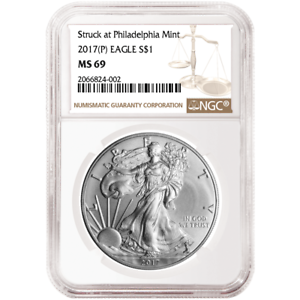 2017 $1 American Silver Eagle NGC MS69 FDI First Label P